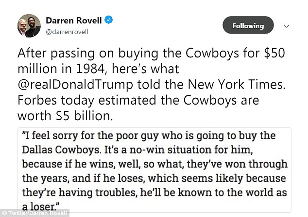 President Donald Trump reportedly had an offer to buy the team for $50 million in 1984, when the Cowboys were struggling, but thought better of it