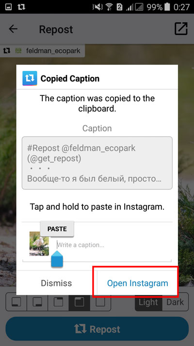 "Выбор кнопки ""Open instagram"""