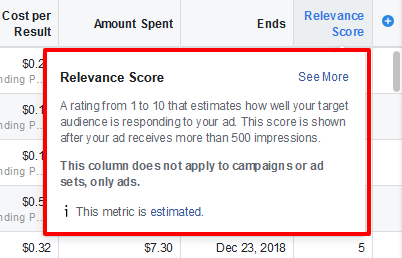 Relevance score in Facebook Ads screenshot