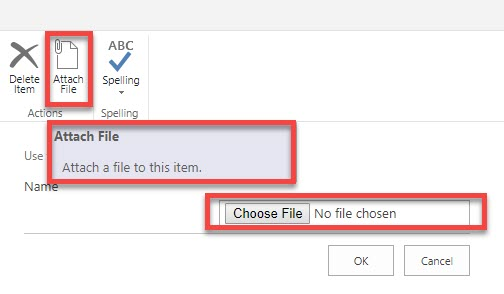 attach documents in a SharePoint list
