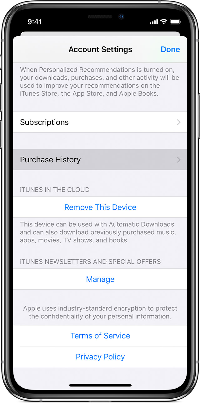 iPhone showing Purchase History on the Account Settings page in the Settings app.