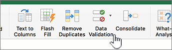 Excel tool bar data menu with Data Validation selected